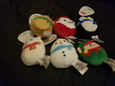 "Complete Set Squishmallow 3.5"" Clip Christmas Squad Keychain Stocking Kellytoy"