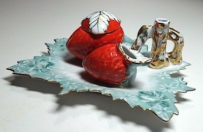 Unusual Gilt-edged Porcelain Snowflake and Strawberry Inkwell - Superb Condition