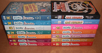 Lot of 14 Books by Rachel Russell Dork Diaries & Max Crumbly Hardcover