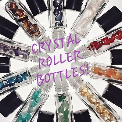 Crystals in Roller Bottles for Essential Oils Chakra Healing Stones Reiki Wicca