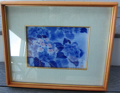 Vintage Asian Japanese Cobalt Blue & White Fukagawa Framed Plaque Signed - Art