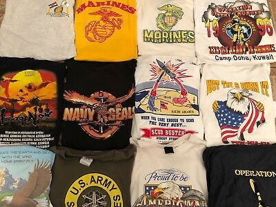 Military Usa Patriot Marines Army Lot Of (12) Vtg 80S & 90S Shirts Adult Sizes