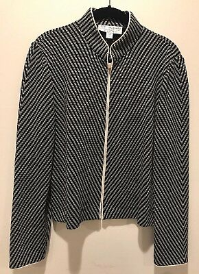 St. John Collection By Marie Grey Zip Up Jacket Blazer Size 10