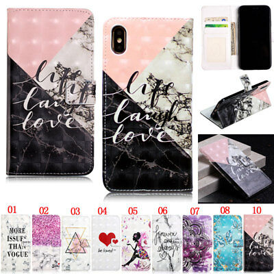 Marble Wallet Leather Flip Case Cover For iPhone XS Max XR 5S SE 6 6S 7 8 Plus X