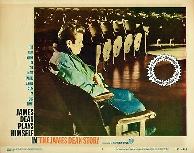 James Dean sitting alone in theater Lobby Card #1 THE JAMES DEAN STORY 1957 bio