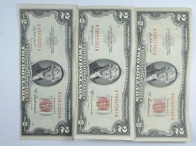 Lot (3) Red Seal $2.00 US 1953 or 1963 Notes - Currency Collection *043