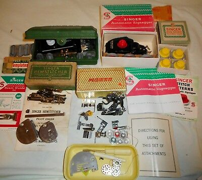 Singer Featherweight 221 Sewing Machine Extras Buttonholer Hemstitcher Zigzagger