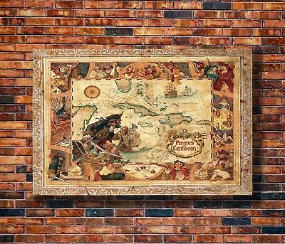 Hot Fabric Poster Disney Pirates Of The Caribbean Map 36x24 30x20 40x27inch Z17