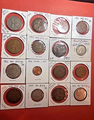 Lot Of 16 Coins From Uk, 1901 - 79, Different Mint And Condition! Collectible!!!