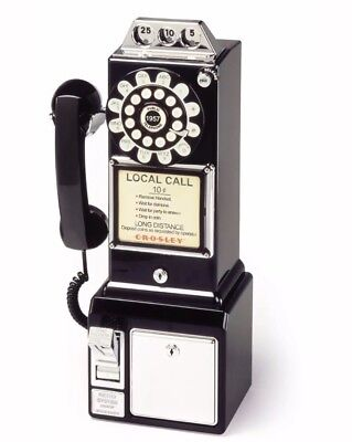 Crosley Vintage Style Pay Phone with Integrated Coin Bank - Black