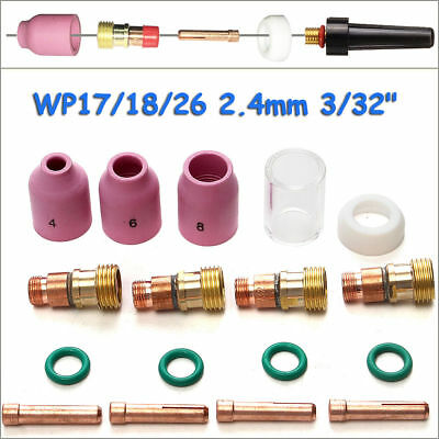 TIG Soldering Welding Torch Body Stubby Gas Lens Cup Kit For WP-17/18/26 3/32