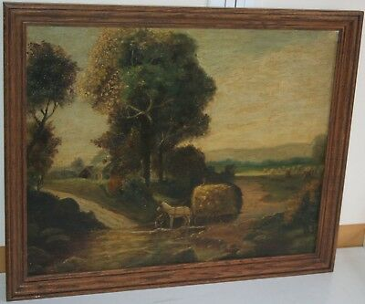 1 OF 2 Antique 19th Century Oil Painting on Canvas Horse Wagon Haymaking