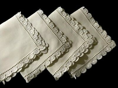 """Early Vintage Gorgeous Broderie Anglaise Snow White 4 Dinner Napkins  Trim 18""""SQ"""