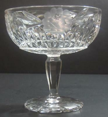 Vintage COMPOTE crystal clear etched glass with cut 8 point star pedestal bowl