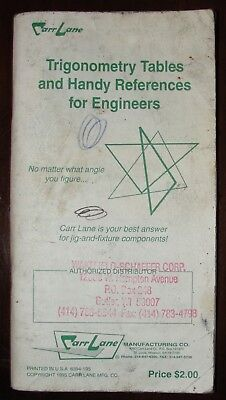 1995 Carr Lane Trigonometry Tables and Handy References For Engineers