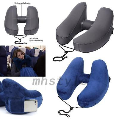 Inflatable Neck Pillow Travel Pillow With Velvet Hood For Office Car Airplane US