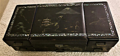 Vintage Japanese Musical Jewelry Box, Hand Painted, Inlaid Abalone Shell
