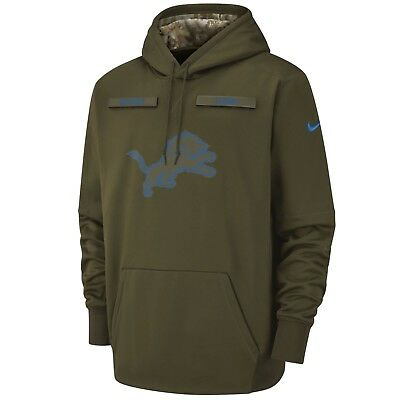 Nike DETROIT LIONS 2018 Mens NFL Salute to Service Therma STS Hoodie Hoody New