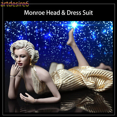 "1/6 Sexy Goddess Marilyn Monroe Head & Dress Suit & Shoes fit 12"" Phicen Body"