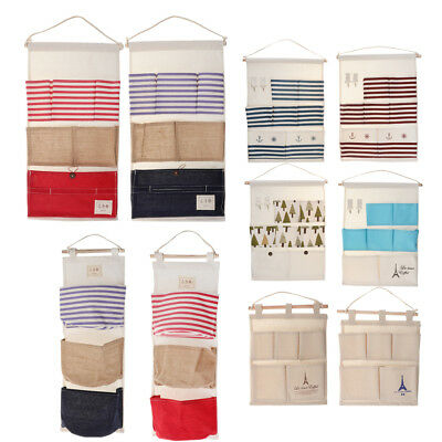 Hanging Storage Bags Linen Tree Striped Door Wall Mounted Closet Organizer
