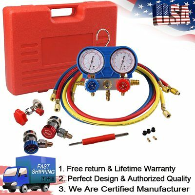 HVAC A/C Automotive Refrigeration Kit AC Manifold Gauge Service Kit w/ 5ft R134A