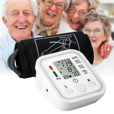 Automatic LCD Digital Blood Pressure Monitor Heart Meter Upper Pulse Arm White
