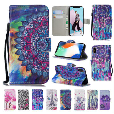 For iPhone XR XS Max 5S 6 7 8 Plus Patterned Magnetic Leather Wallet Case Cover