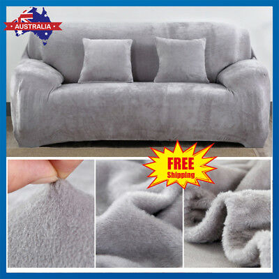 Easy Fit Stretch 1/2/3 Seater Couch Sofa Slipcover Protector Cover Plush Velvet