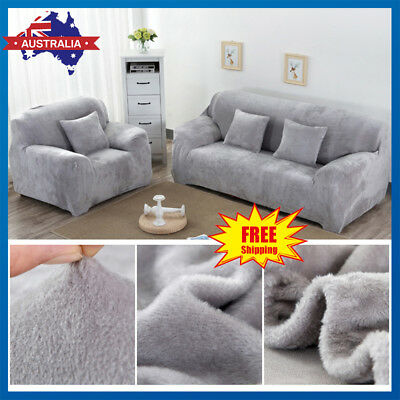 EASY Fit VELVET Stretch Couch Sofa Lounge Covers Recliner Dining Chair Cover