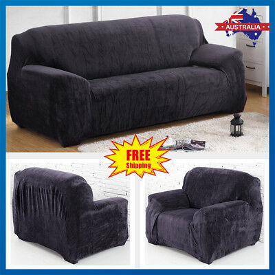 Plush Velvet Easy Stretch Sofa Cover Couch Lounge Recliner Slipcover Protector