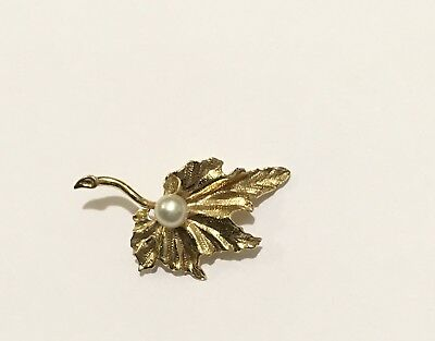 14K Yellow Gold Pearl Leaf Brooch Textured Flower Pin Vintage Jewelry 10 grams