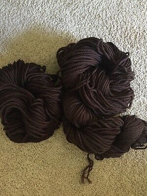 Skeins Of Brown Yarn X 3 Synthetic Strands Are Plied To A Cord 580gm