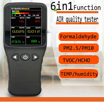 6 in1 Air quality Detector Formaldehyde PM2.5 Tester HCHO Temp Gas Analyze