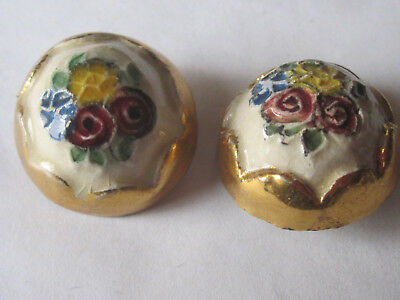 """Vintage Glazed Ceramic Hand Painted Floral Domed 2 Buttons ~ 1"""" Diameter"""