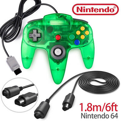 Green Game Controller Gamepad Joystick+ N64 Extension Cable for Nintendo 64 N64