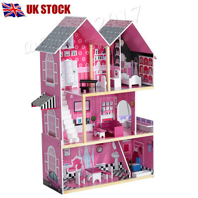 3 Storey Wooden Kids Girl Doll House With Furniture & Staircase Fits Dollhouse