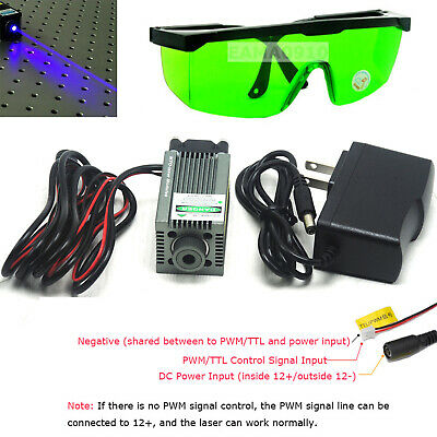 Focusable 450nm 5.5W 5500mW Blue Laser Module Engraving and Cutting TTL+Goggles
