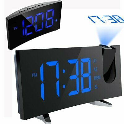 "5"" LCD Digital LED Projector Projection FM Radio Snooze Alarm Clock Dual Alarm"