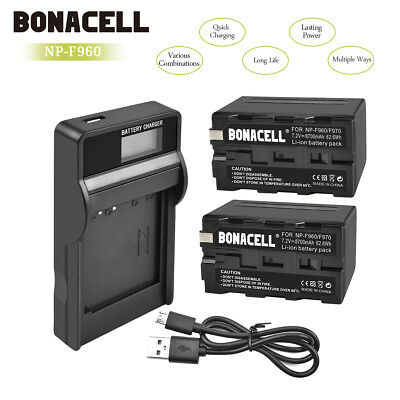 US!! 8800mAh NP-F960 NP-F970 Battery + Charger For Sony NP-F770 NP-F550 F950 GM