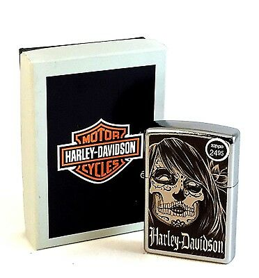 NEW Zippo Street Chrome Harley Davidson Day of the Dead Lighter In Box, # 28976