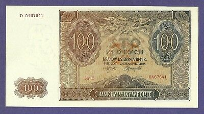 [AN] Poland 100 Zlotych 1941 P103 UNC