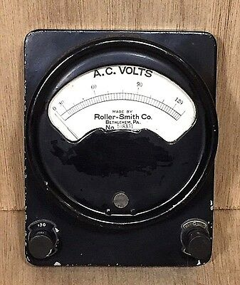 Vintage Roller-Smith Co. No. 108331 A.C. VOLTS Gauge made in U.S.A. • Steampunk