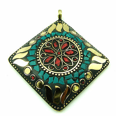 Solid Brass Turquoise Gemstone Antique Ethnic Vintage Nepali Pendant 288