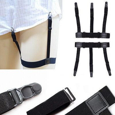 Men Uniform Shirt Stays Holders Elastic Garter with Non-slip Locking Clamps CN