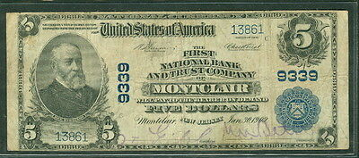 National Bank Note, First NB MONTCLAIR, New Jersey, 1902, Fr. #600, F/VF
