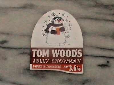 Tom Woods Jolly Snowman real ale beer pump clip sign