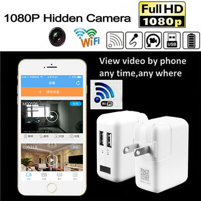 HD 1080P WIFI Spy Camera Adapter Hidden Mini Wall USB Charger Wireless Camcorder