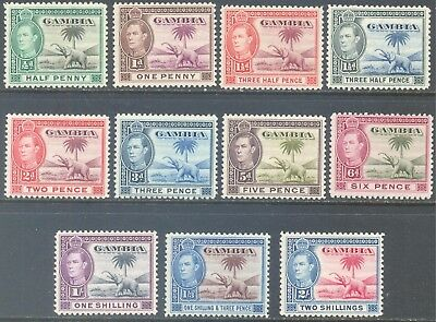 GAMBIA 1938/46 KG6 Elephant Values to 2/- (11) MLH/MNH