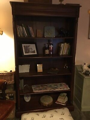 large mahogany open victorian bookcase