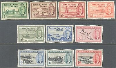 TURKS & CAICOS ISLANDS 1950 KG6 Pictorial Set to 1/6d (10) MLH